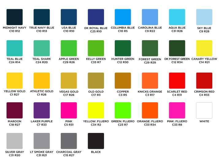 Sublimation Color Chart Primetime Sports Apparel